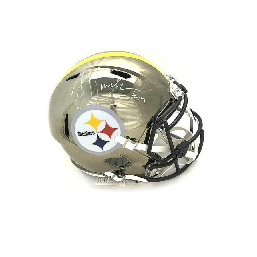 JuJu Smith-Schuster Signed Pittsburgh Steelers Replica CHROME Full Size Helmet