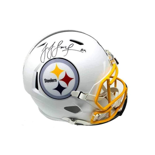 Juju Smith-Schuster Signed Pittsburgh Steelers White Matte Speed Authentic Full Size Helmet With Yellow Facemask - DAMAGED