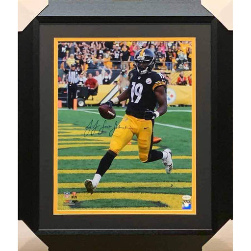 JuJu Smith Schuster Signed Running into Endzone in Black 16x20 - Professionally Framed
