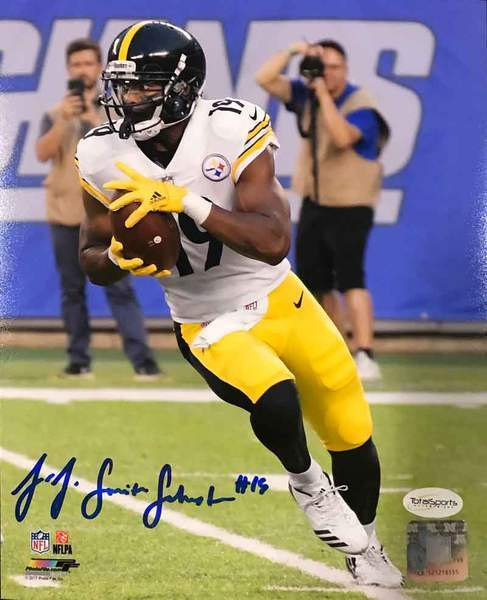 JuJu Smith-Schuster Signed Running with Ball in White 8x10 Photo