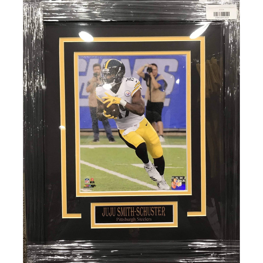 JuJu Smith Schuster UNSIGNED Professionally Framed Running In White 8x10 Photo