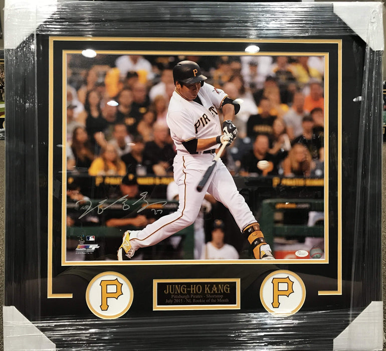 Jung-Ho Kang Hitting Ball in White Jers. 16x20 Signed - Professionally Framed
