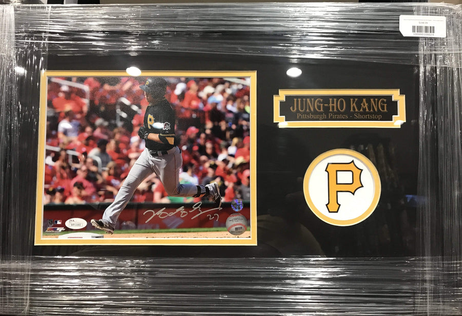 Jung-Ho Kang Running with Red Background 8x10 Signed - Professionally Framed