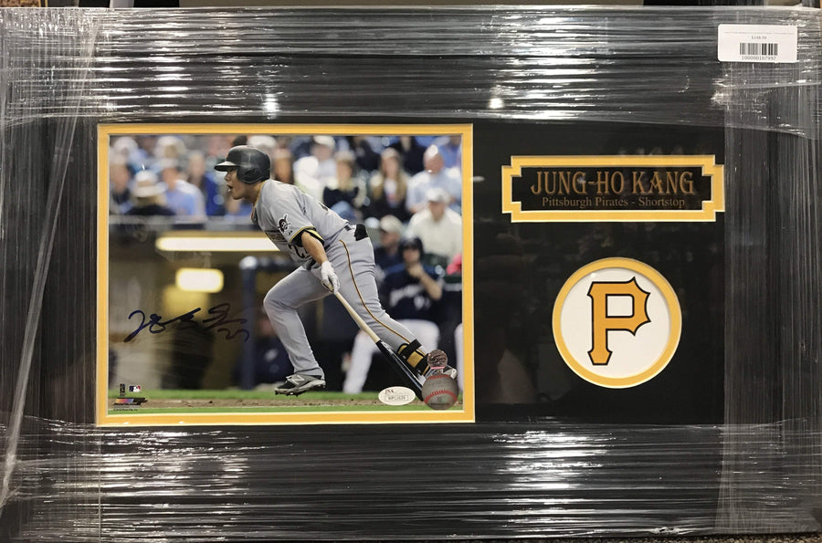Jung-Ho Kang Swinging in Grey Jers. 8x10 Signed - Professionally Framed