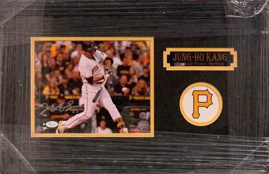 Jung-Ho Kang Swinging in White Jers. 8x10 Signed - Professionally Framed Default Title