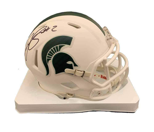 Justin Layne Signed Michigan State White Mini Helmet
