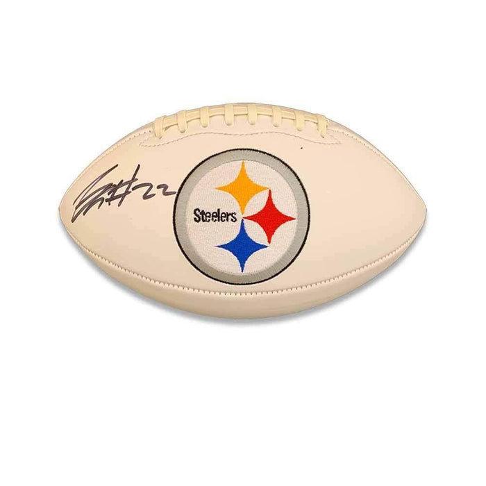 Justin Layne Signed Pittsburgh Steelers White Logo Football