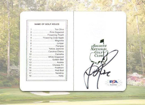 Justin Rose Signed Masters Official Scorecard
