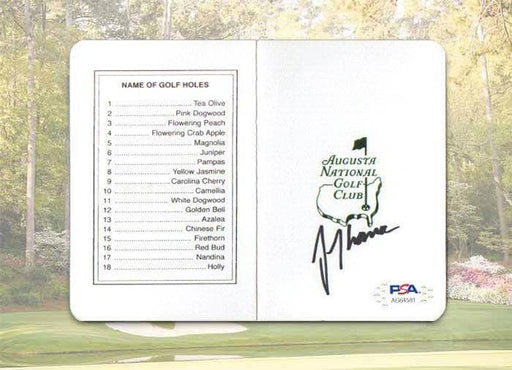 Justin Thomas Signed Masters Official Scorecard