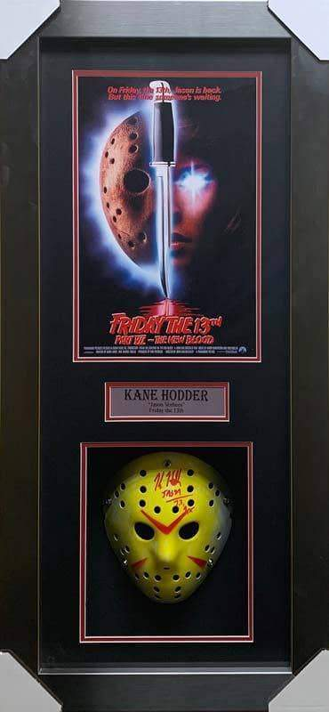 Kane Hodder Signed Jason Hockey Mask with Friday the 13th Part VII Movie Poster - Professionally Framed