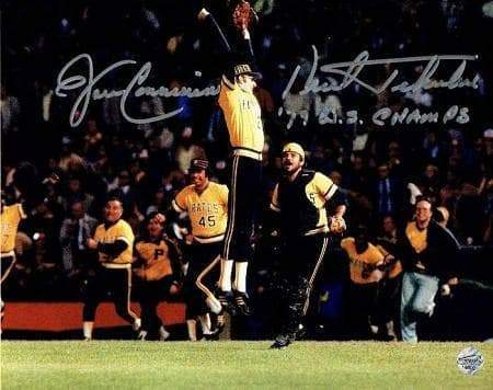 Kent Tekulve and John Candelaria Celebrating After Clinching The 1970 World Series 8x10 Photo - Signed and inscribed '79 WS Champs'