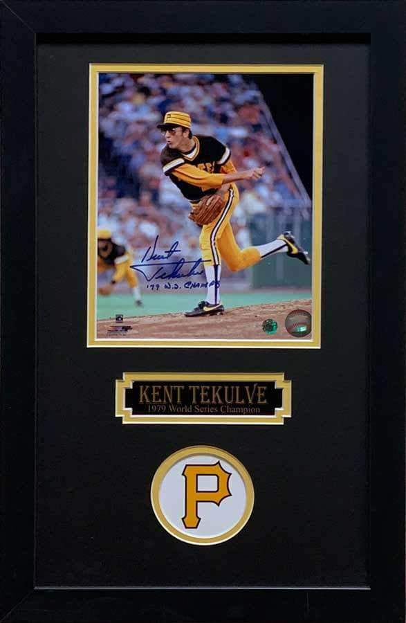 Kent Tekulve Signed Pitching 8x10 Photo Inscribed '79 WS Champs - Professionally Framed