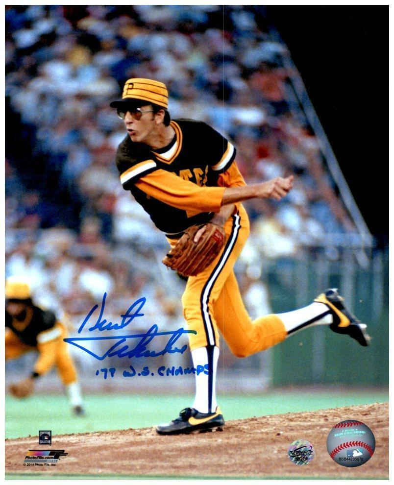 Kent Tekulve Signed Throwing in Black 8x10  Photo Inscribed '79 WS Champs