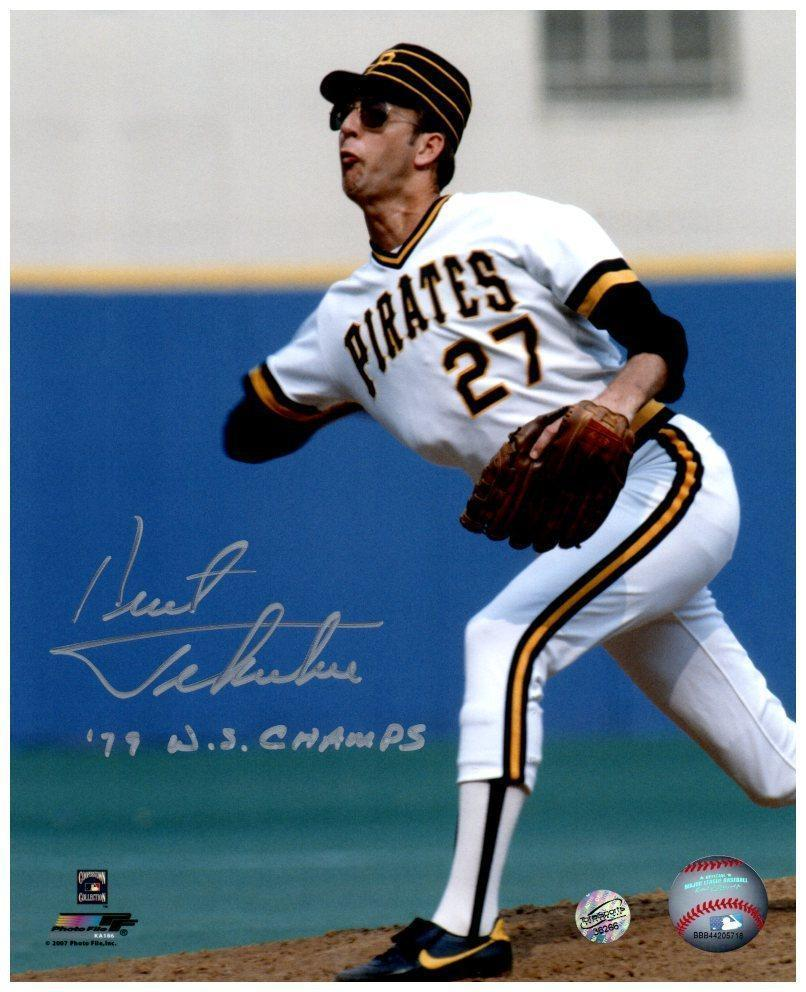 Kent Tekulve Signed Throwing in White Inscribed '79 WS Champs