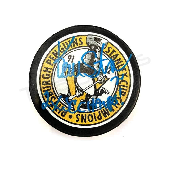 "Kevin Stevens Autographed Pittsburgh Penguins 91-92 SC Puck with ""2X SC Champs"""