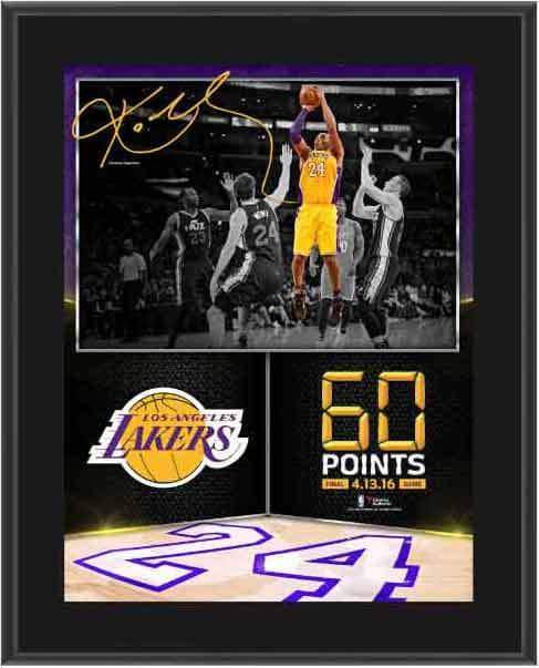 "Kobe Bryant Los Angeles Lakers Fanatics Authentic 10.5"" x 13"" 60 Point Finale Sublimated Plaque"