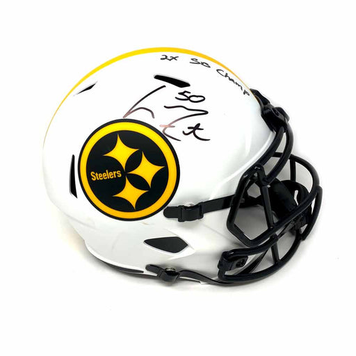 Larry Foote Autographed Pittsburgh Steelers Full Size Replica Lunar Helmet with 2X SB Champs