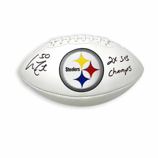 Larry Foote Autographed Pittsburgh Steelers White Logo Football with 2X SB Champs