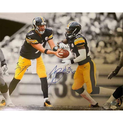 Le'Veon Bell and Ben Roethlisberger SIGNED Handoff in Black Jers. 16x20 Photo
