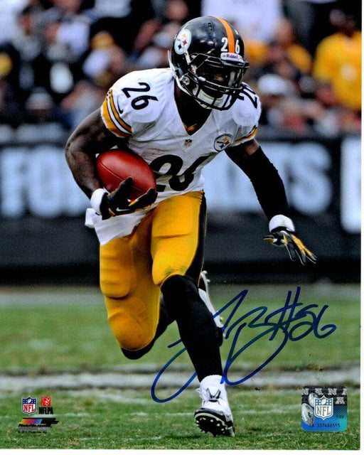 Le'Veon Bell Signed Running with Ball in White 8x10 Photo