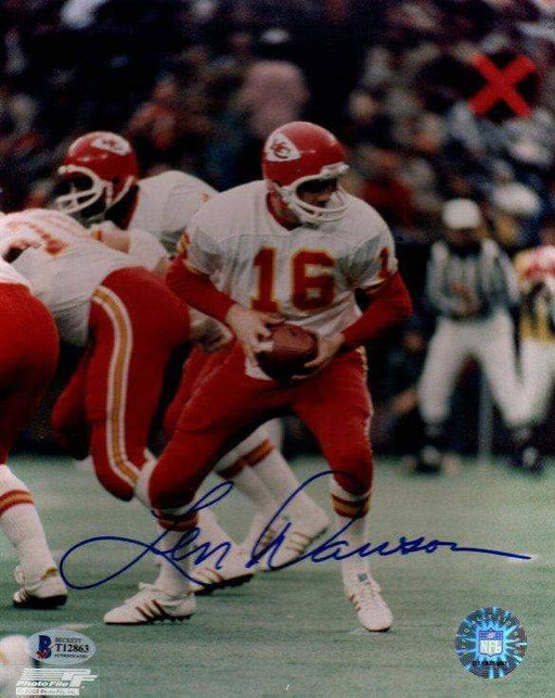 Len Dawson Autographed About to Hand Off 8x10 Photo