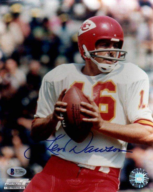 Len Dawson Autographed Close-up with Ball 8x10 Photo