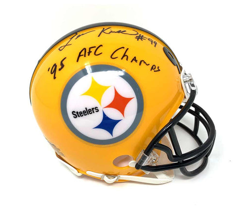 Levon Kirkland Autographed Pittsburgh Steelers 75th Anniversary Mini Helmet with 95 AFC Champs