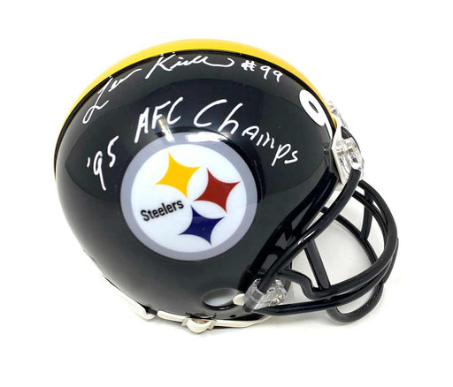 Levon Kirkland Autographed Pittsburgh Steelers Black Mini Helmet with 95 AFC Champs