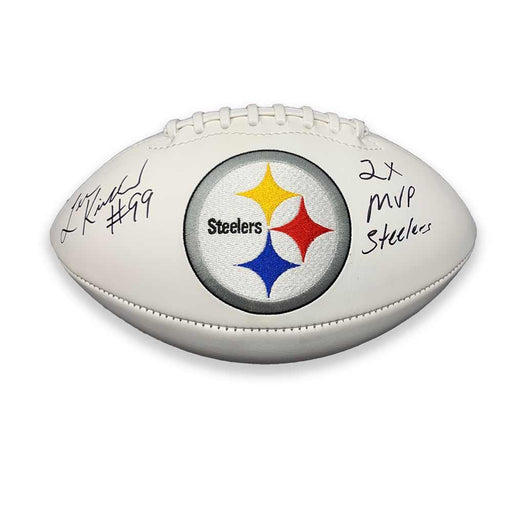 Levon Kirkland Autographed Pittsburgh Steelers White Logo Football with 2X MVP Steelers