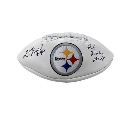 Levon Kirkland Autographed Pittsburgh Steelers White Logo Football with 2X Steelers MVP - DAMAGED