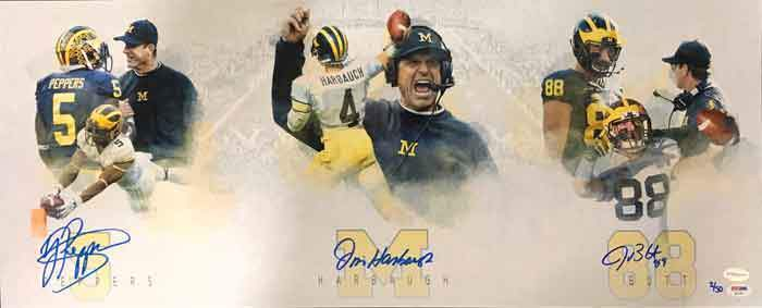 LIMITED EDITION Jim Harbaugh, Jabril Peppers, and Jake Butt Signed Michigan Panoramic Custom Photo