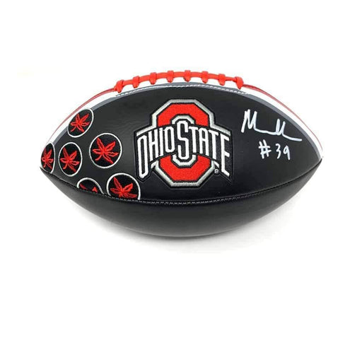 Malik Harrison Signed Ohio State Black Logo Football