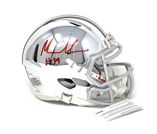 Malik Harrison Signed Ohio State CHROME Mini Helmet