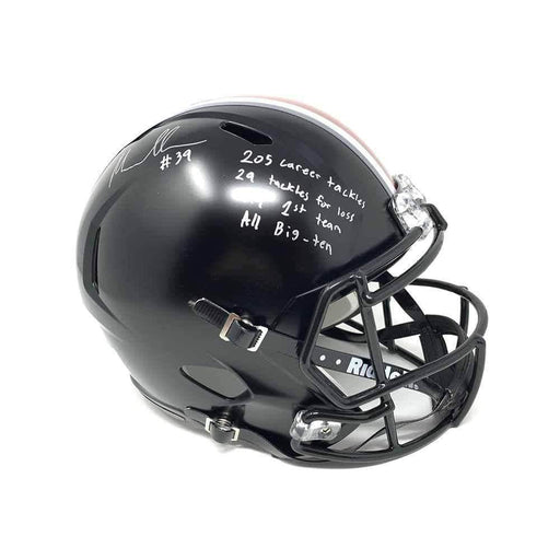 Malik Harrison Signed Ohio State Full Size Black Replica SPEED Helmet with STATS