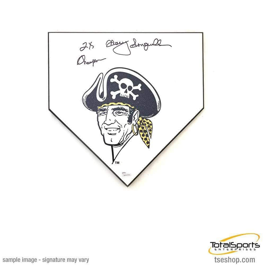 Manny Sanguillen Buccaneer Home Plate - Signed and inscribed '2X Champs'