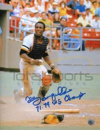 Manny Sanguillen In Action 8x10 Photo - Signed and inscribed '71 79 WS Champs'