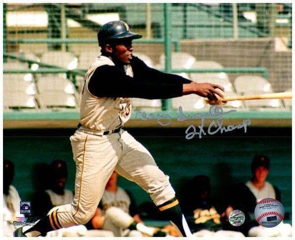 "Signed PIRATES Photos Manny Sanguillen Signed In Gray Jers. Swinging Inscribed ""2x Champ"" 8x10 Photo"