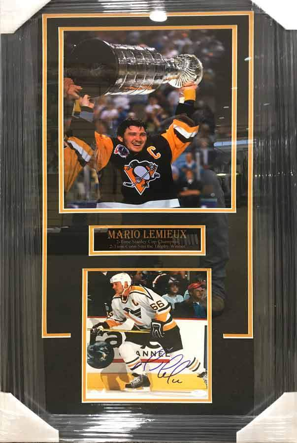 Mario Lemieiux 11x17 Holding Cup in Black with Signed Skating in White Side View 8x10 Photo - Professionally Framed