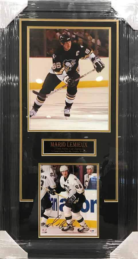 Mario Lemieiux 11x17 Skating in Black with Signed 8x10 in White Stick Up - Professionally Framed