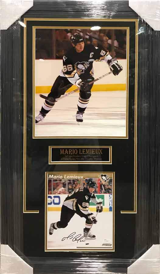Mario Lemieiux 11x17 Skating with Stick in Black with Signed 8x10 in Shooting in Black Photo - Professionally Framed