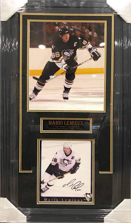 Mario Lemieiux 11x17 Skating with Stick in Black with Signed Skating in White 8x10 Photo - Professionally Framed