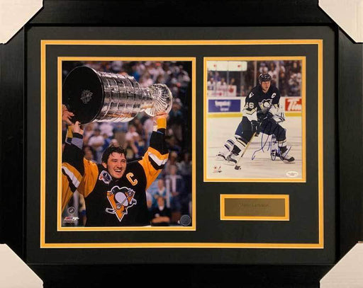 Mario Lemieux Signed 8x10 in All Black Photo with Raising Cup 11x14 Photo - Professionally Framed Default Title
