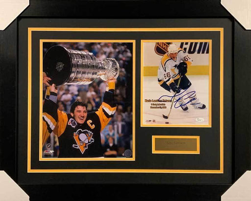 Mario Lemieux Signed 8x10 Mario Returns Photo with Raising Cup 11x14 Photo - Professionally Framed Default Title
