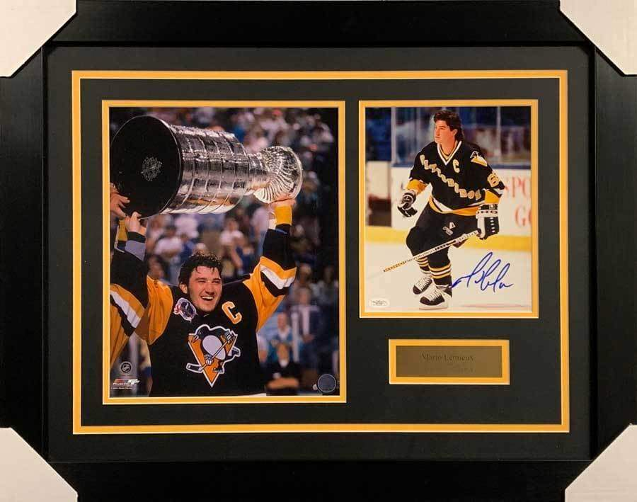 Mario Lemieux Signed 8x10 Skating No Helmet Photo with Raising Cup 11x14 Photo - Professionally Framed Default Title