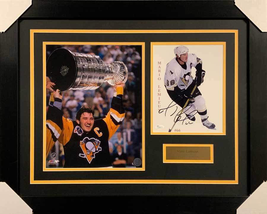 Mario Lemieux Signed 8x10 White Photo with Raising Cup 11x14 Photo - Professionally Framed Default Title