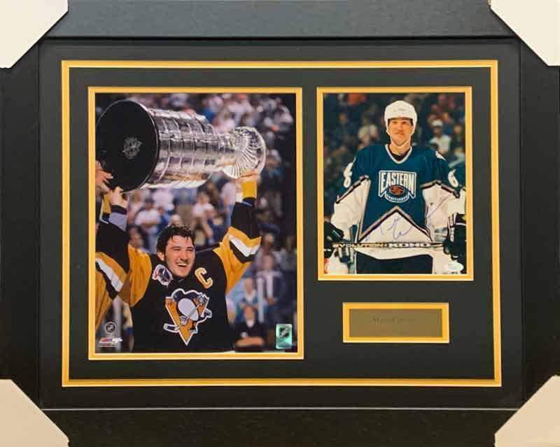 Mario Lemieux Signed All-Star 8x10 Photo with Raising Cup 11x14 Photo - Professionally Framed