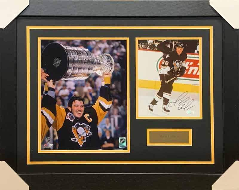 Mario Lemieux Signed Skating in Black Right Foot Forward 8x10 Photo with Raising Cup 11x14 Photo - Professionally Framed