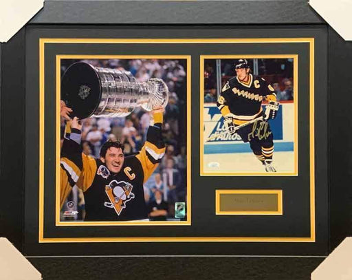 Mario Lemieux Signed Skating in Black with Pittsburgh on Front 8x10 Photo with Raising Cup 11x14 Photo - Professionally Framed