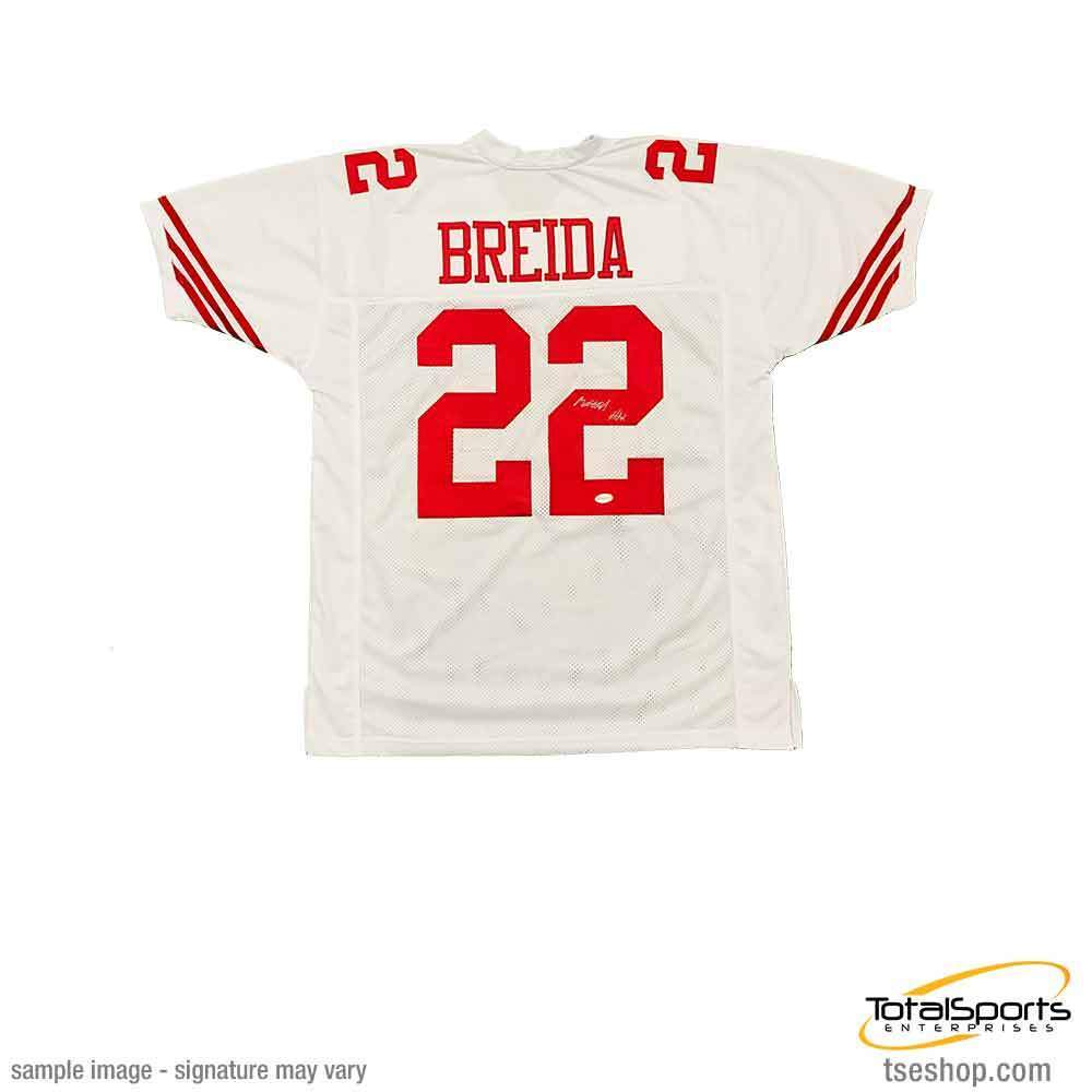 big sale c0972 1cb47 Matt Breida Signed Custom White Football Jersey