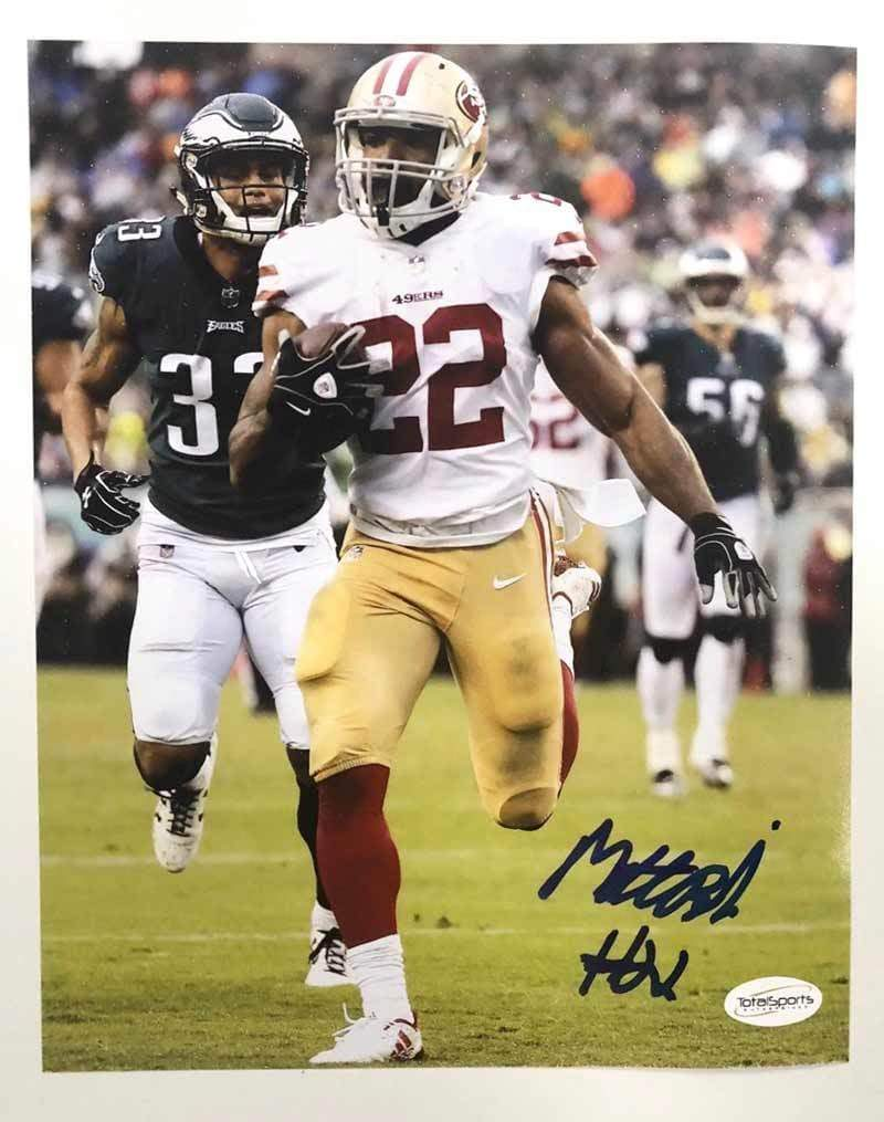 Signed 49ERS Mini Helmets Matt Breida Signed Running vs. Eagles 8x10 Photo